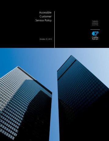 The Toronto Dominion Centre Accessible Customer Service Policy
