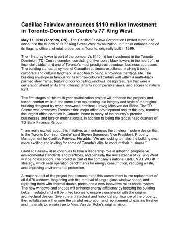 TD Centre invests $110 million in 77 King West - Toronto-Dominion ...