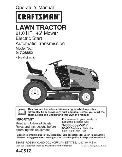 Craftsman lawn mower owners manual download