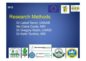 Module 2 - Research Methods - Natural Resources Institute