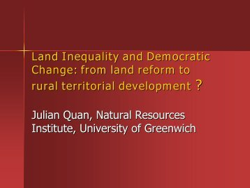 Land inequality and territory - Natural Resources Institute