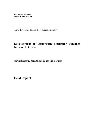 Development of Responsible Tourism Guidelines for South Africa ...