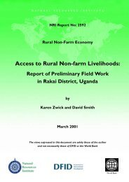 Access to Rural Non-Farm Livelihoods - Natural Resources Institute