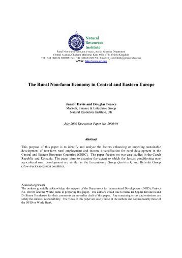 the rural non farm economy The purpose of this paper is to outline key emerging and conceptual issues in the  development of the rural non-farm economy in less developed countries.