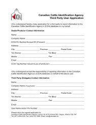 Canadian Cattle Identification Agency Third Party User Application