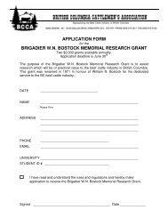 application form brigadier wn bostock memorial research grant