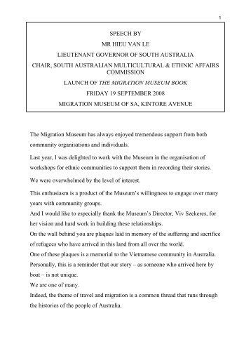 Migration Museum Book Launch and speechPM ... - Multicultural SA