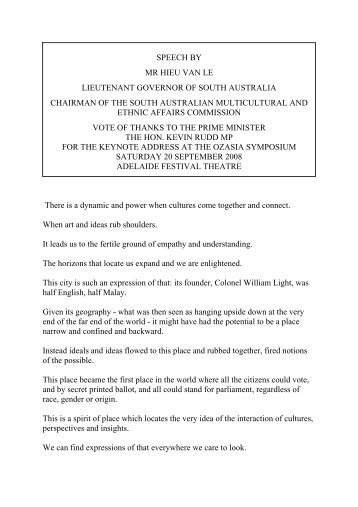 Thank you speech to PM (PDF 25.3 KB) - Multicultural SA