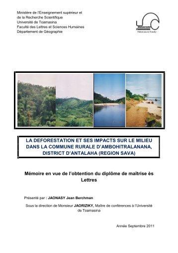 la deforestation et ses impacts sur le milieu dans la commune rurale ...