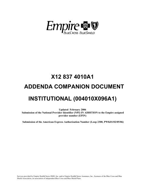 X12 837 4010A1 Institutional Companion Document - Empire Blue
