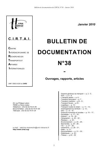 Janvier 2010 BULLETIN DE DOCUMENTATION N°38 - cirtai