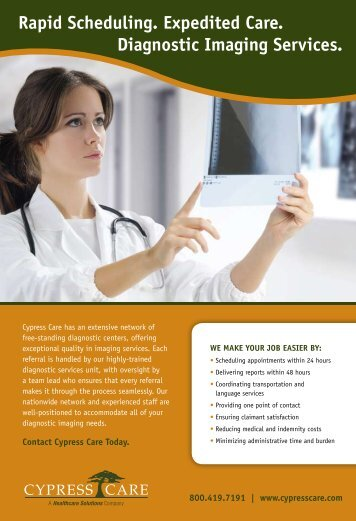 Rapid Scheduling. Expedited Care. Diagnostic ... - Cypress Care