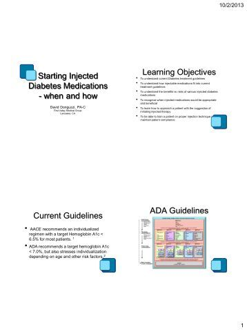Starting Injected Diabetes Medications - when and how Learning ...
