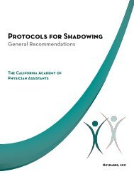 Protocols for Shadowing - California Academy of Physician Assistants