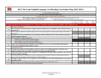 RCS 7th Grade English/Language Arts/Reading Curriculum Map ...