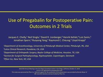 Use of Pregabalin for Postoperative Pain: Outcomes ... - LotusCR.com