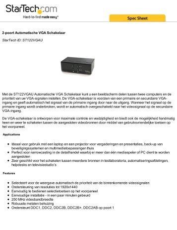 2-poort Automatische VGA Schakelaar StarTech ID: ST122VGAU ...