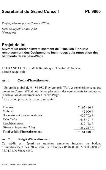 Projet de loi 9860 - Etat de Genève