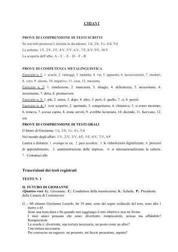 Modello prova Avanzato - chiavi - Istituto Italiano di Cultura