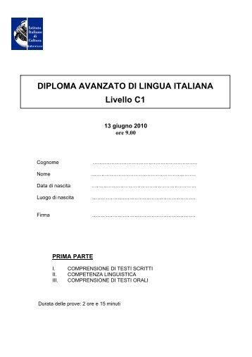 DIPLOMA AVANZATO DI LINGUA ITALIANA Livello C1