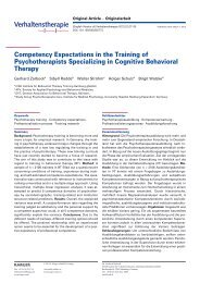Competency Expectations in the Training of Psychotherapists - Karger