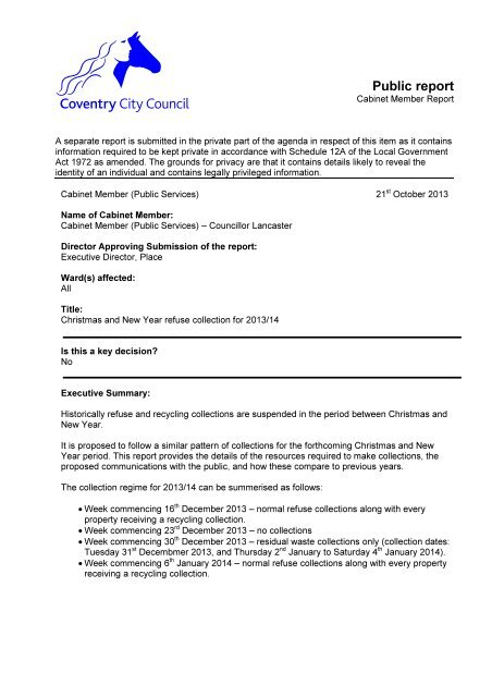 Christmas and New Year Refuse Collection for 2013/14 PDF 64 KB