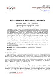 The FDI profile in the Romanian manufacturing sector - Review of ...
