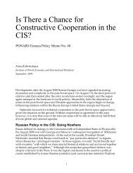 Is There a Chance for Constructive Cooperation ... - PONARS Eurasia