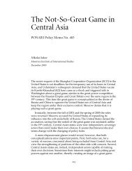 The Not-So-Great Game in Central Asia - PONARS Eurasia