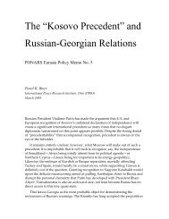 The Kosovo Precedent in Russia's Policy ... - PONARS Eurasia