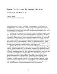 Russia, Chechnya, and the Sovereign Kadyrov - PONARS Eurasia