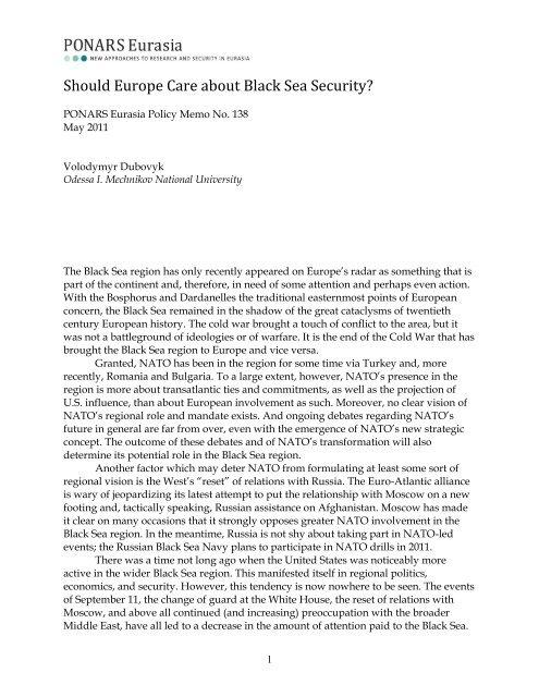 Should Europe Care about Black Sea Security? - PONARS Eurasia