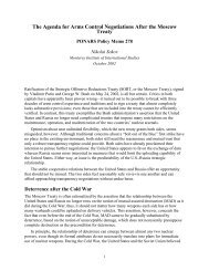 The Agenda for Arms Control Negotiations After ... - PONARS Eurasia