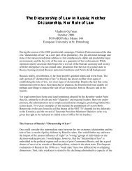 The Dictatorship of Law in Russia: Neither ... - PONARS Eurasia