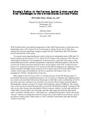 Russia's Policy in the Former Soviet Union and ... - PONARS Eurasia