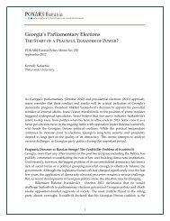 Georgia's Parliamentary Elections - PONARS Eurasia