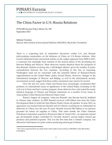 View the Policy Memo (PDF) - PONARS Eurasia
