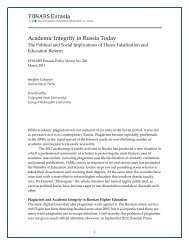 Academic Integrity in Russia Today - PONARS Eurasia