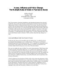 Access, Influence and Policy Change: The ... - PONARS Eurasia