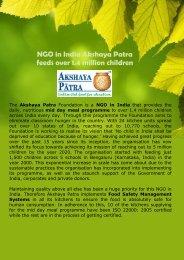 NGO in India Akshaya Patra feeds over 1.4 million children