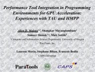 Performance Tool Integration in Programming Environments for ...