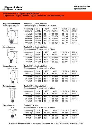 Sonderlampen - Prechter + Renner GmbH