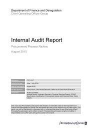 Internal Audit Report - Department of Finance and Deregulation