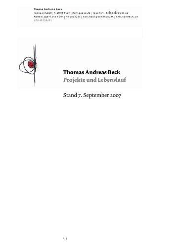 Thomas Andreas Beck  Projekte und Lebenslauf Stand 7. September ...