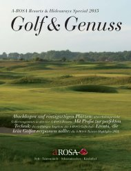 A-ROSA Resorts and Hideaways Special 2015 Golf & Genuss