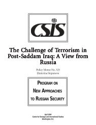 The Challenge of Terrorism in Post-Saddam Iraq - Center for ...