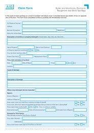 AIG Machinery Breakdown claim form - AIS Insurance Brokers