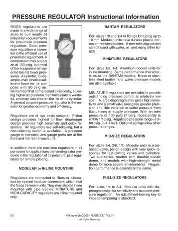 Download ROSS Air Preparation Regulators PDF Files