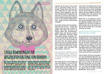 Einige Bemerkungen zur artgerechten Haltung von Hunden