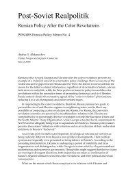 POST-SOVIET REALPOLITIK: - PONARS Eurasia